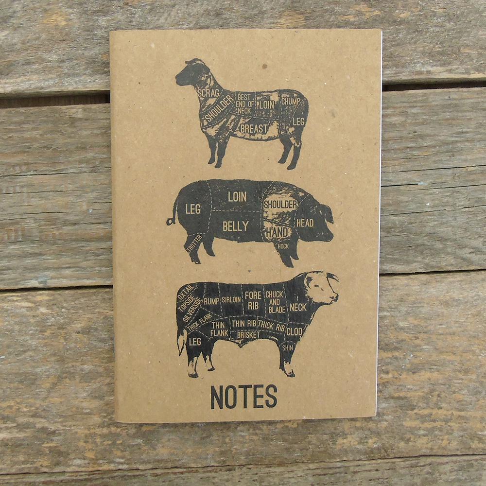 A6 meat cuts notebook buff web