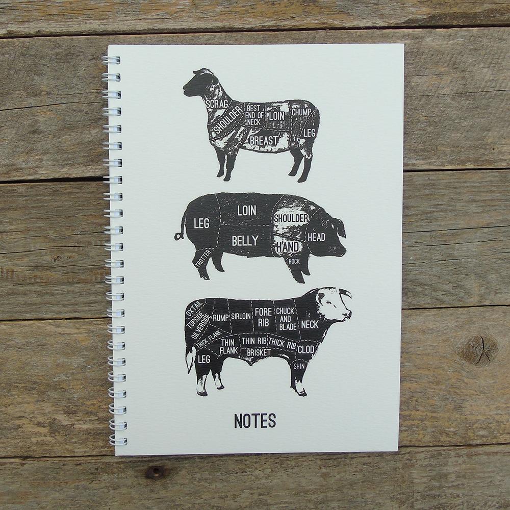 Meat Cuts A5 spiral white Notebook