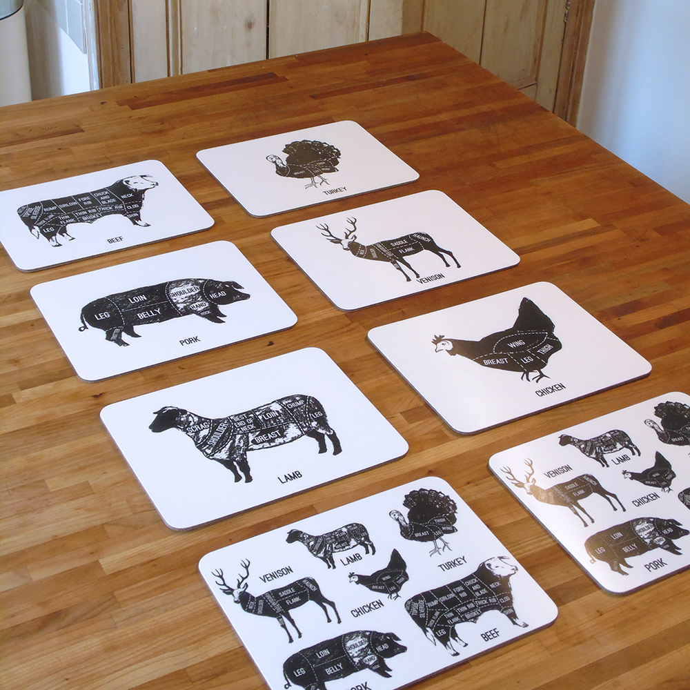 Meat Cuts set of eight