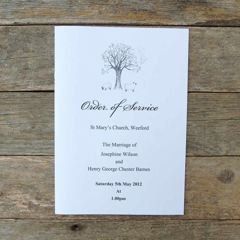 sheep and tree order of service web
