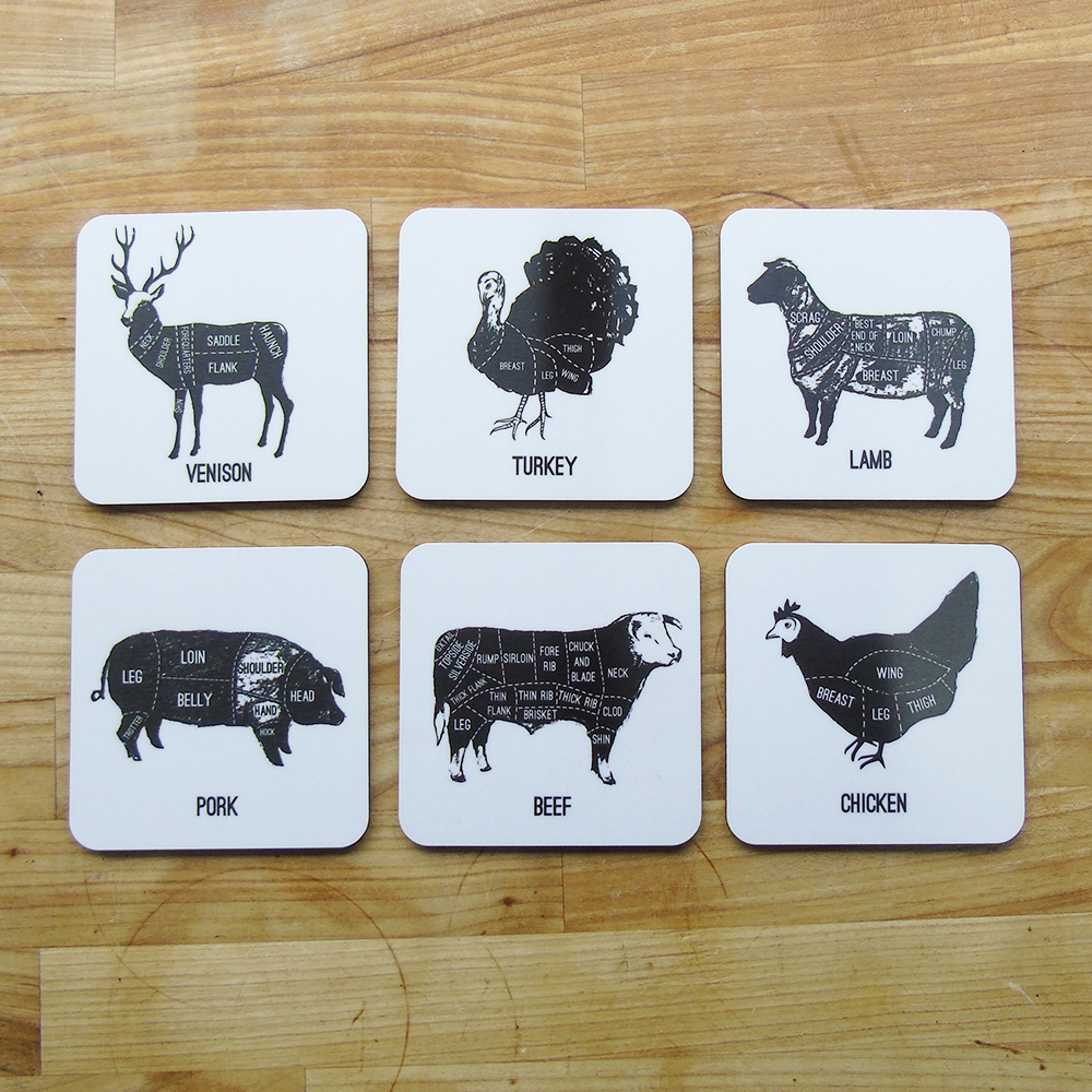 meat cuts coasters