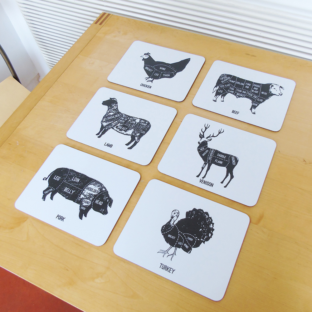 set of 6 meat cuts placemats