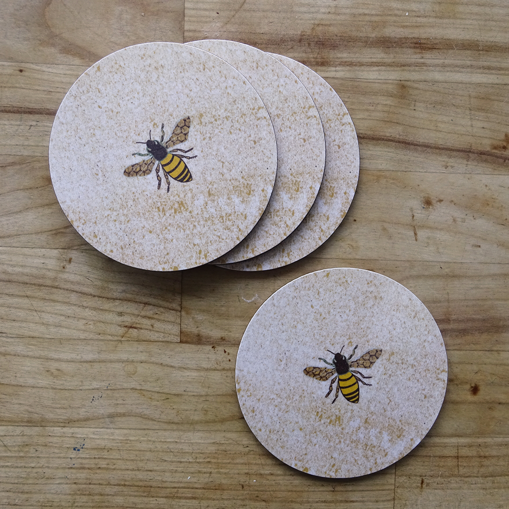 set of 4 bees 2 coaster web